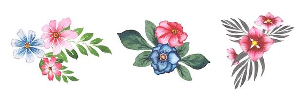 Ręcznie robione akwarela zestaw kwiatowy