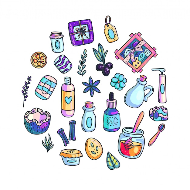 Ręcznie robione kosmetyki ręcznie rysowane kolor ilustracje zestaw