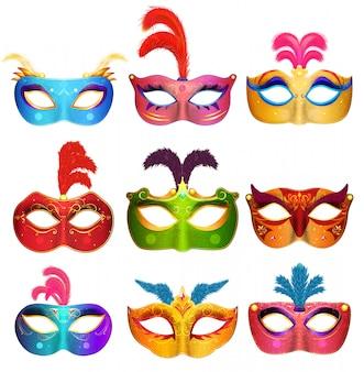 Ręcznie robione maski weneckie mardi gras. kolekcja maseczek na imprezę maskującą. ilustracja