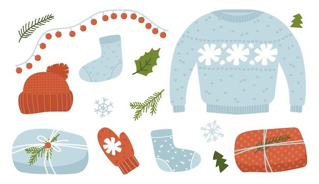 Ręcznie robione prezenty świąteczne, słodkie ciepłe zimowe ubrania dzianiny i prezenty, przytulne grudniowe święta, ilustracja wektorowa, zestaw naklejek na białym tle