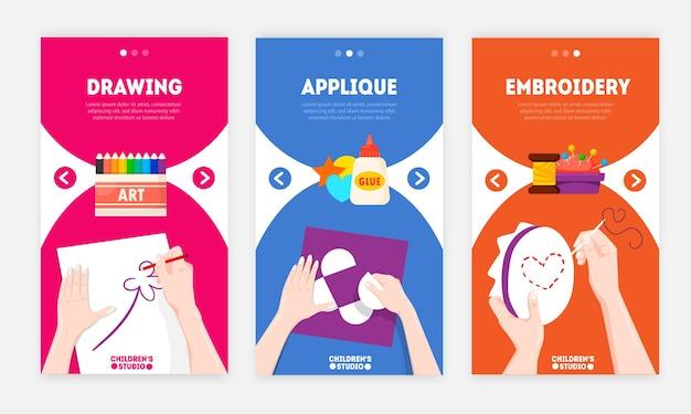 Ręcznie robione projekty pomysły dla kreatywnych ludzi pionowe kolorowe banery z haftowaną aplikacją rysunkową