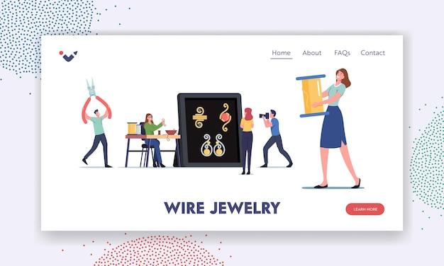 Ręcznie robione rękodzieło, szablon strony docelowej dla majsterkowiczów. małe postacie kobiece projektanci biżuterii tworzą biżuterię i naszyjniki, kolczyki, bransoletki za pomocą drutu, kolorowe koraliki. ilustracja wektorowa kreskówka ludzie