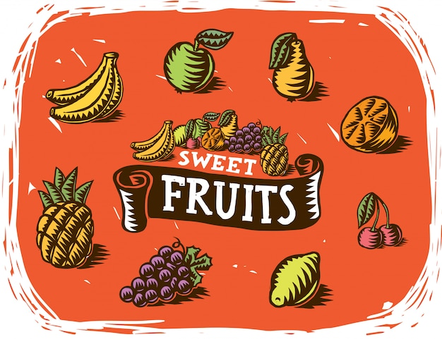 Ręcznie robione rysunki owoców