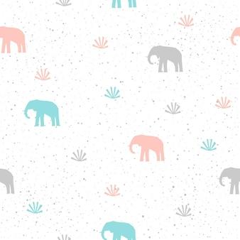 Ręcznie robione tło wzór słonia. abstrakcyjny wzór słoń niebieski, szary i różowy dla karty, zaproszenia, tapety, albumu, notatniku, papieru do pakowania wakacyjnego, tkaniny tekstylnej, odzieży, t-shirt