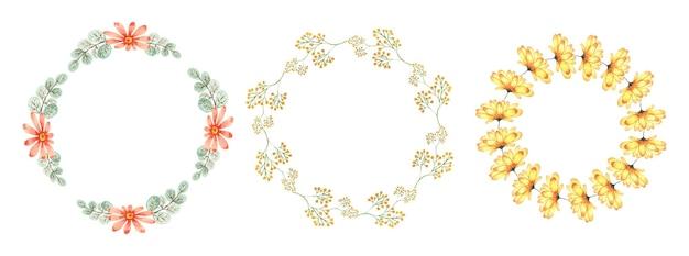 Ręcznie robiony zestaw akwarela wieniec kwiatowy