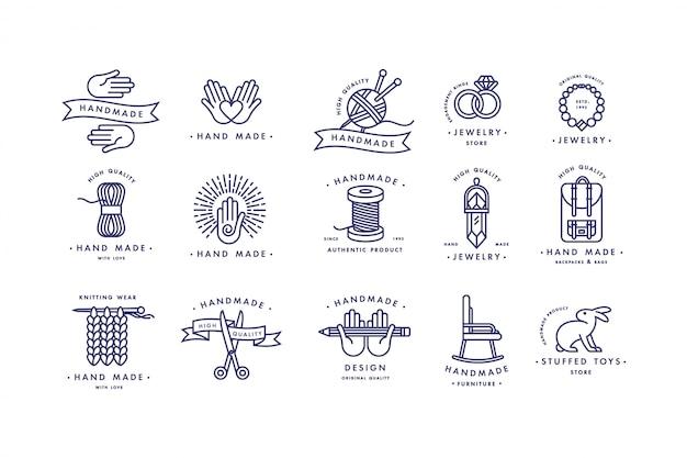 Ręcznie robiony zestaw kolorowych logo linii. ręcznie robione plakietki liniowe lub ręcznie robione etykiety konturowe. dzianiny i symbole do szycia. ilustracja.