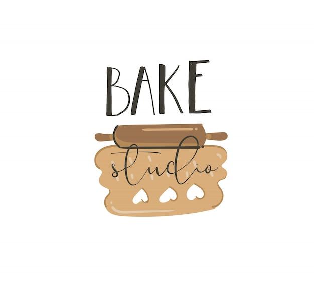 Ręcznie rysować abstrakcyjne nowoczesne kreskówki czas gotowania zabawne ilustracje znak napis logo projekt z zwiniętym ciastem ciasteczka i odręczną kaligrafią bake studio na białym tle