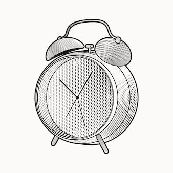 Ręcznie rysować budzik z ilustracji stylu grawerowania