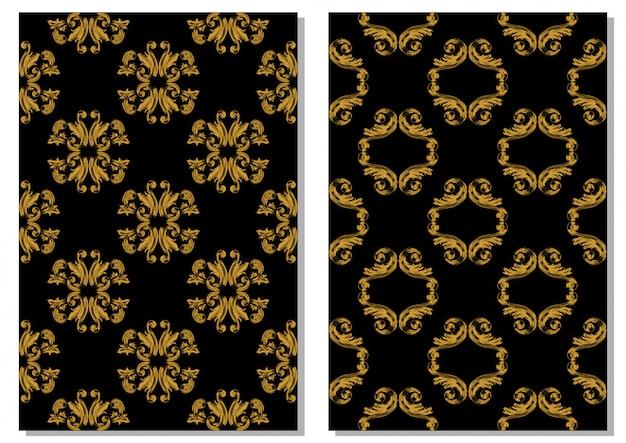 Ręcznie rysować dekoracyjny wzór vintage złoto