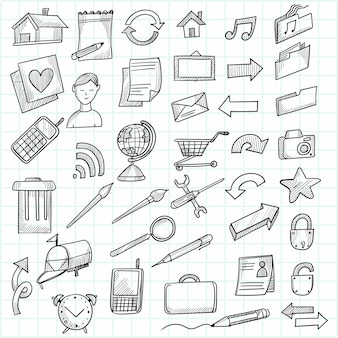 Ręcznie rysować doodle dekoracyjny zestaw ikon