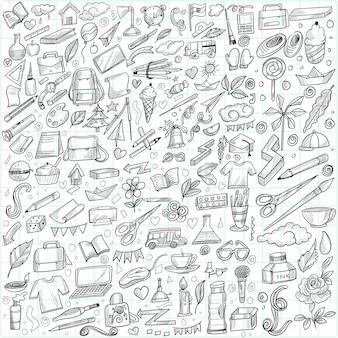 Ręcznie rysować doodle edukacja i projekt szkic zestawu pracy