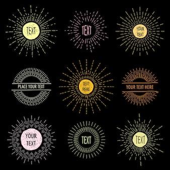 Ręcznie rysować doodle sunbursts z miejscem na tekst. rysunek koła promienistego, zestaw logo hipster sunshine.