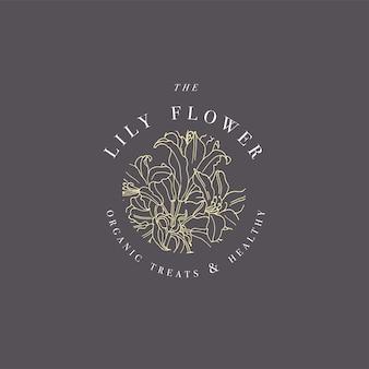 Ręcznie rysować ilustracja logo kwiaty lilii. wieniec kwiatowy. botaniczny kwiatowy emblemat z typografią na białym tle.