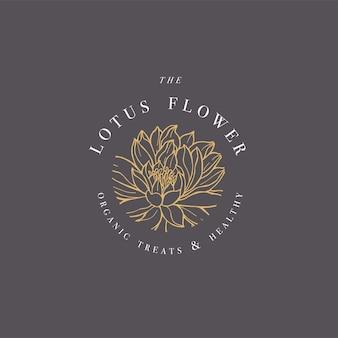 Ręcznie rysować ilustracja logo kwiaty lotosu. botaniczny emblemat kwiatowy