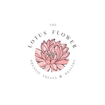 Ręcznie rysować kartę logo kwiaty lotosu