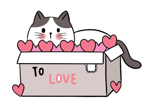Ręcznie rysować kreskówka ładny na walentynki z kotem w pudełku