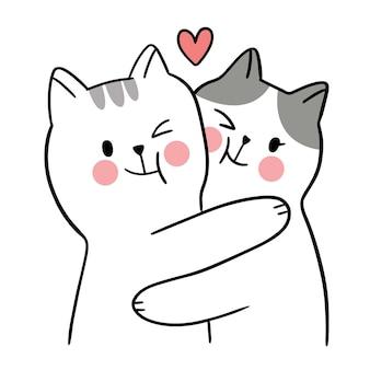 Ręcznie rysować kreskówka ładny na walentynki z przytulaniem para kotów