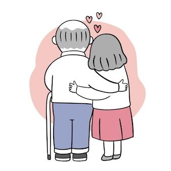 Ręcznie rysować kreskówka ładny na walentynki z przytulaniem starszej pary