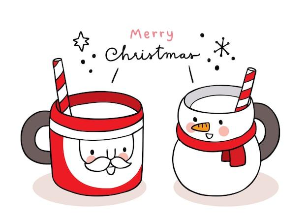 Ręcznie rysować kreskówka słodką filiżankę kawy wesołych świąt, mikołaja i bałwana