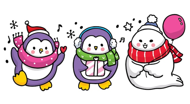 Ręcznie rysować kreskówka słodkie pingwiny i pieczęć szczęścia.