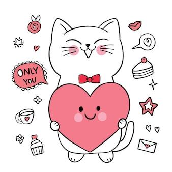 Ręcznie rysować kreskówka słodkie walentynki, biały kot i wielkie serce