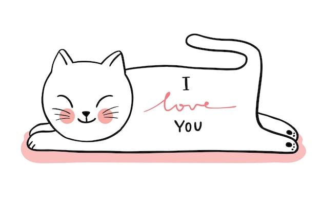 Ręcznie rysować kreskówka słodkie walentynki, biały kot leżący