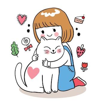 Ręcznie rysować kreskówka słodkie walentynki, dziewczyna przytulanie kota