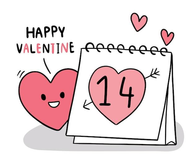 Ręcznie rysować kreskówka słodkie walentynki, kalendarz i serce