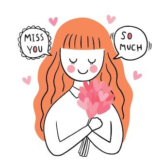 Ręcznie rysować kreskówka słodkie walentynki, kobieta i kwiat serca