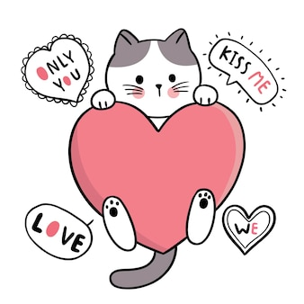 Ręcznie rysować kreskówka słodkie walentynki, kot i wielkie serce
