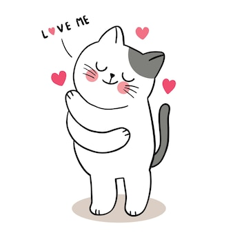 Ręcznie rysować kreskówka słodkie walentynki, kot przytulanie wektor