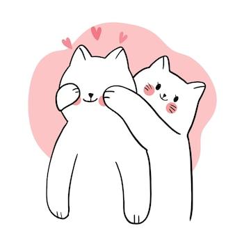 Ręcznie rysować kreskówka słodkie walentynki, para białych kotów