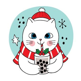 Ręcznie rysować kreskówka słodkie wesołych świąt, kot pić herbatę bąbelkową
