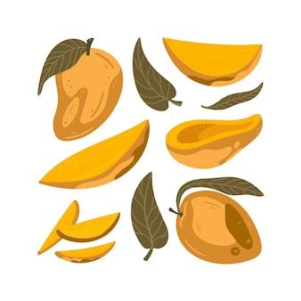 Ręcznie rysować kreskówka zestaw plasterków owoców mango