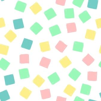 Ręcznie rysować kwadraty wzór dla dzieci niebieski, różowy, miętowy, żółty. wektor niekończące się tło ołówek tekstura kwadratów w pastelowych kolorach. szablon opakowania, tekstylia dziecięce, tło strony internetowej