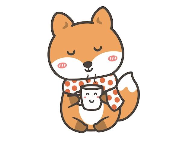 Ręcznie rysować ładny lis