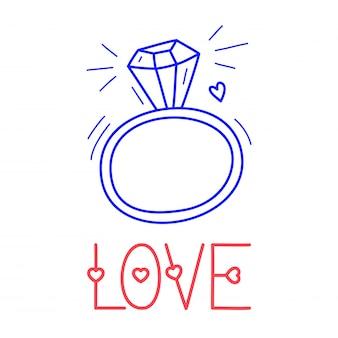 Ręcznie rysować miłość pierścionek z brylantem ikona w stylu doodle do projektowania z napisem.
