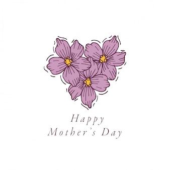 Ręcznie rysować na kolorowy kartkę z życzeniami z okazji dnia matki. typografia i ikona tła wiosennych wakacji, banerów lub plakatów i innych materiałów do wydruku.