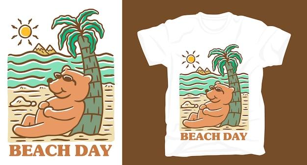 Ręcznie rysować niedźwiedzia na plaży ilustracja projekt koszulki
