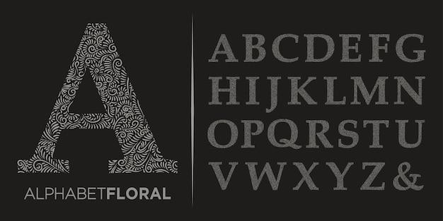 Ręcznie rysować ozdobne litery alfabetu az logo vector