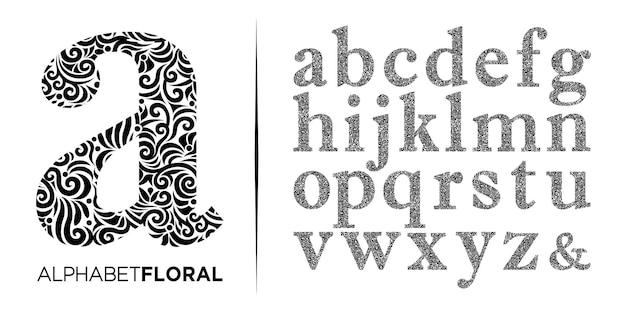 Ręcznie rysować ozdobny kwiatowy list az logo alfabetu vector