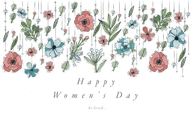 Ręcznie rysować projekt dla karty z pozdrowieniami dzień kobiet kolorowy kolor. typografia i ikona 8 marca, banery lub plakaty i inne materiały do wydruku. elementy projektu wiosenne wakacje.