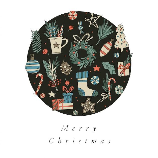 Ręcznie rysować projekt kartki świąteczne kolorowe karty kolor. typografia i ikona na boże narodzenie, banery lub plakaty i inne materiały do wydruku. elementy projektu zimowe wakacje.