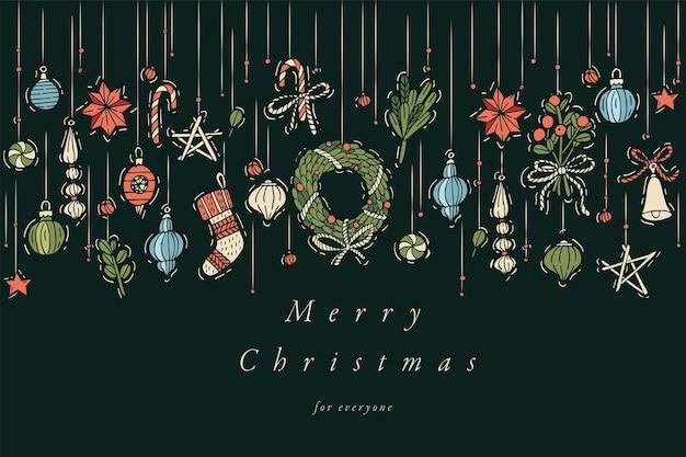 Ręcznie rysować projekt karty świąteczne życzenia