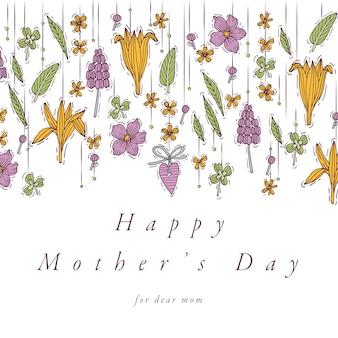 Ręcznie rysować projekt na kolorowy kolor karty z pozdrowieniami dzień matki. typografia i ikona na wiosenne wakacje