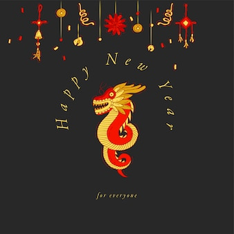 Ręcznie rysować projekt na życzenia chińskiego nowego roku kolorowy kolor. typografia i ikona na boże narodzenie tło, banery lub plakaty i inne materiały do wydrukowania. tradycyjne elementy dekoracji świątecznych.