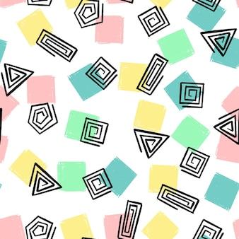 Ręcznie rysować spiralne kształty geometryczne wzór. wektor niekończące się tło trójkątów, kwadratów, kółek w pastelowych kolorach różowy, miętowy, żółty, niebieski do opakowania, tekstylia dziecięce, nadruk.