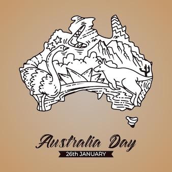 Ręcznie Rysować Szczęśliwe Obchody Dnia Australii Premium Wektorów