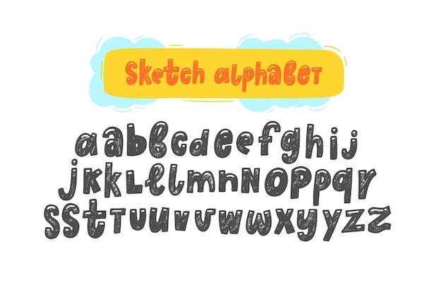 Ręcznie rysować szkic śmieszne angielskie alfabety słodkie odręcznie alfabet angielski śmieszne ręcznie