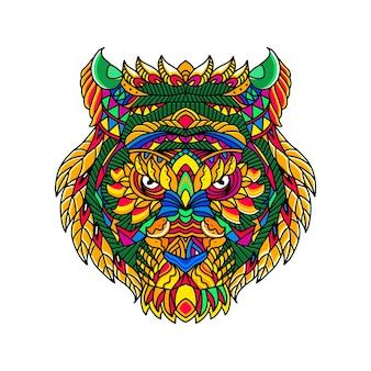 Ręcznie Rysować Tygrys Głowa Kolorowy Styl Zentangle Grafiki Premium Wektorów